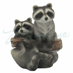 Raccoons on a Tree Branch Hanging Christmas Tree Ornaments, Set of 4
