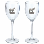 Race Horse Pewter Accent Wine Glass Goblets, Set of 2