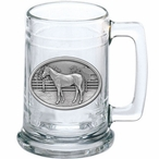 Racehorse Glass Beer Mug with Pewter Accent