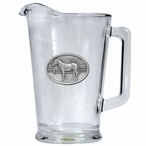 Racehorse Glass Pitcher with Pewter Accent