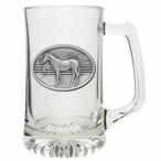 Racehorse Glass Super Beer Mug with Pewter Accent