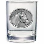 Racehorse Pewter Accent Double Old Fashion Glasses, Set of 2