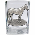 Racehorse Pewter Accent Shot Glasses, Set of 4