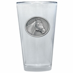 Racehorse Pint Beer Glasses with Pewter Accent, Set of 2
