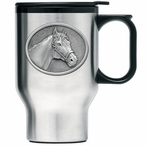 Racehorse Stainless Steel Travel Mug with Handle and Pewter Accent