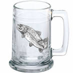 Rainbow Trout Fish Glass Beer Mug with Pewter Accent