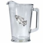 Rainbow Trout Fish Glass Pitcher with Pewter Accent