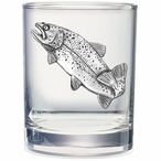 Rainbow Trout Fish Pewter Accent Double Old Fashion Glasses, Set of 2