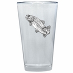 Rainbow Trout Fish Pint Beer Glasses with Pewter Accent, Set of 2
