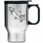Rainbow Trout Fish Stainless Steel Travel Mug with Handle and Pewter
