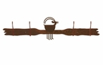 Ram Goat Four Hook Metal Wall Coat Rack
