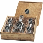 Raven Bird Black Capitol Decanter & DOF Glasses Box Set with Pewter