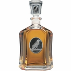 Raven Bird Black Capitol Glass Decanter with Pewter Accents
