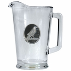 Raven Bird Black Glass Pitcher with Pewter Accent
