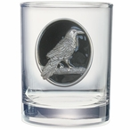 Raven Bird Black Pewter Accent Double Old Fashion Glasses, Set of 2
