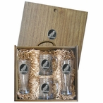 Raven Bird Black Pilsner Glasses & Beer Mugs Box Set w/ Pewter Accents