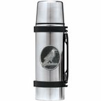 Raven Bird Black Stainless Steel Thermos with Pewter Accent
