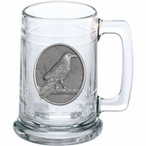 Raven Bird Glass Beer Mug with Pewter Accent