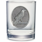 Raven Bird Pewter Accent Double Old Fashion Glasses, Set of 2
