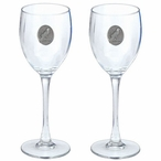 Raven Bird Pewter Accent Wine Glass Goblets, Set of 2