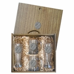 Raven Bird Pilsner Glasses & Beer Mugs Box Set with Pewter Accents