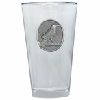 Raven Bird Pint Beer Glasses with Pewter Accent, Set of 2