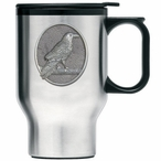Raven Bird Stainless Steel Travel Mug with Handle and Pewter Accent