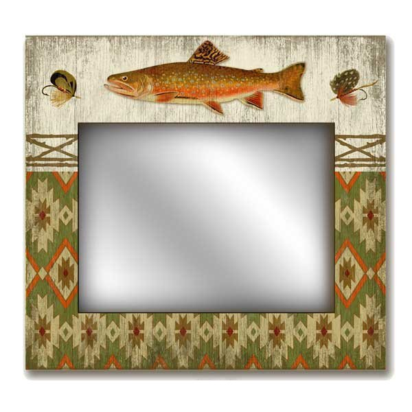 Rectangle Wall Mirror with Trout Fish Vintage Style Wooden Sign ...