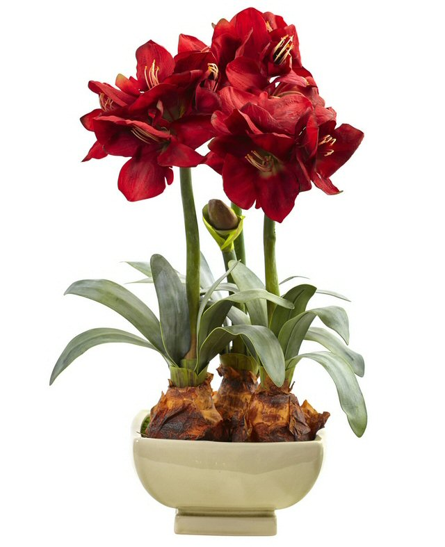 Red Amaryllis Silk Flower Arrangement With Vase Artificial Flowers