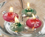 Red and Green Snowflakes Candle Floats Floating Candles, Set of 24