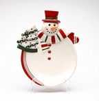 Red and White Snowman Plates, Set of 2