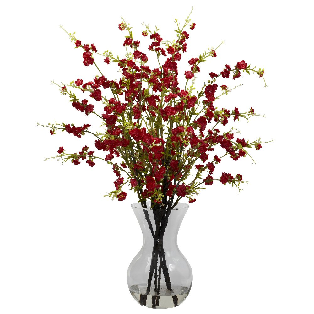 Red Cherry Blossoms With Vase Silk Flower Arrangement Artificial
