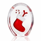 Red Christmas Stocking with Candy Cane and Present Crystal Sculpture