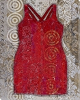Red Cocktails Dress Wrapped Canvas Giclee Print Wall Art