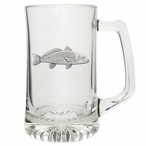 Red Fish Glass Super Beer Mug with Pewter Accent