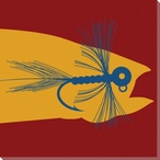 Red Fish n' Flies Wrapped Canvas Giclee Print Wall Art