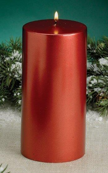 Red metallic christmas pillar candles set of 4 for Shimmer pillar candle