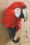 Red Parrot Bird Hand Painted Sculpted Single Wall Hooks, Set of 3