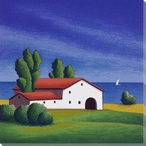 Red Roof Vista 3 Wrapped Canvas Giclee Print Wall Art