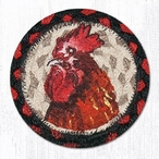Red Rooster Braided Jute Coasters, Set of 8