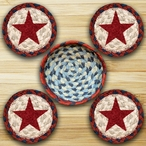 Red Star Braided Jute Coasters and Basket Holder, Set of 10