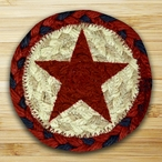 Red Star Braided Jute Coasters, Set of 8