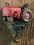 Red Tractor Hand Painted Sculpted Single Wall Hooks, Set of 3