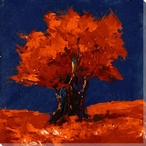 Red Tree on Blue Wrapped Canvas Giclee Print Wall Art