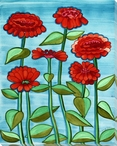 Red Zinnia Flowers Wrapped Canvas Giclee Print Wall Art