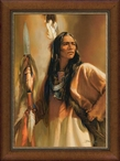 Redhawk Native American Portrait Framed Canvas Giclee Wall Art
