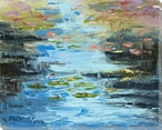 Reflections in Blue Pond Scene Wrapped Canvas Giclee Print