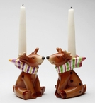 Reindeer Porcelain Taper Candle Holders by Laurie Furnell, Set of 2