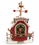 Reindeer Rides Musical Music Box Porcelain Sculpture by Laurie Furnell