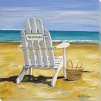 Reserved Beach Chair Wrapped Canvas Giclee Print Wall Art
